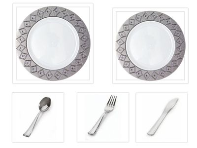 """Imperial Collection White w/Silver Diamond Cut Border China-Like Plastic 10.25"""" Dinner Plates + 7"""" Salad Plates + Cutlery *Party for 40*"""