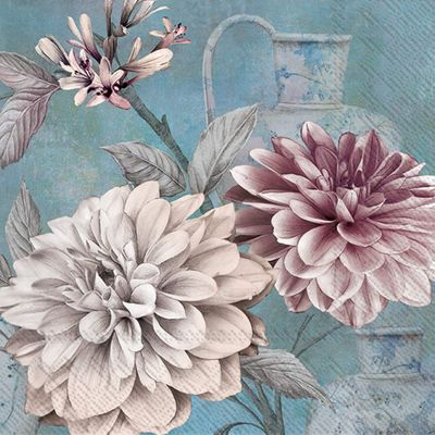 Daria Blue Flower Cocktail Napkins- 20 Napkins per Pack