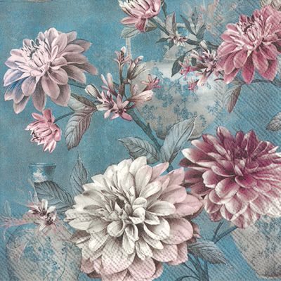 Daria Blue Flower Lunch Napkins- 20 Napkins per Pack