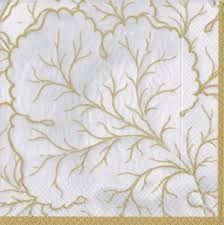 Gilded Majolica Paper Cocktail Napkins in Ivory - 20 Per Package
