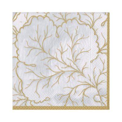 Gilded Majolica Paper Luncheon Napkins in Ivory - 20 Per Package