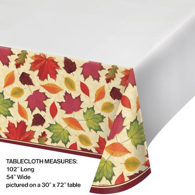 """Thanksgiving / Harvest Fall Leaves Plastic Table Cover 54"""" x 102"""""""