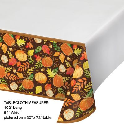 """Thanksgiving Fall Give Thanks Plastic Table Cover 54"""" x 102"""""""