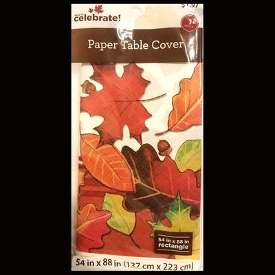 """Thanksgiving Fall Harvest Cornucopia Blessings Leaf Paper Tablecover 54"""" x 88"""""""