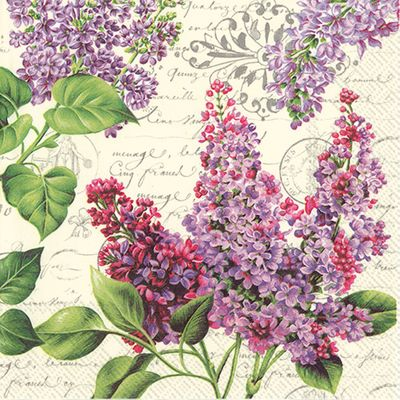 Lilac Letter Cream Lunch Napkins: 20 Napkins per Pack
