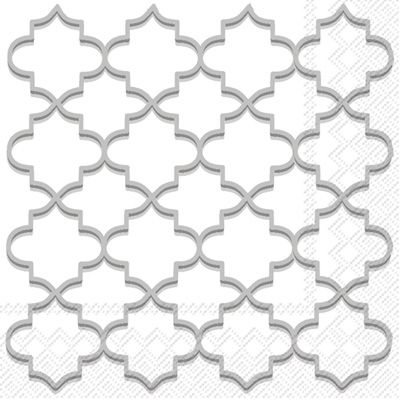 Moroccan Trellis Silver Lunch Napkins: 20 Napkins per Pack