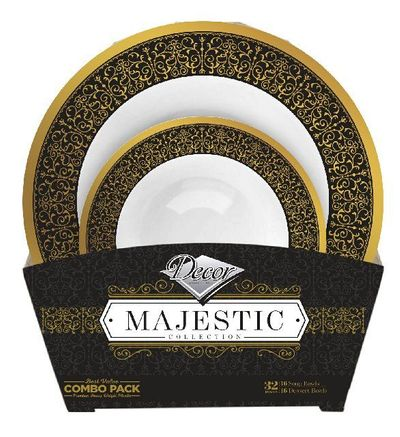 Majestic Collection Tableware Set of 32 White Bowls w/Black and Gold Border