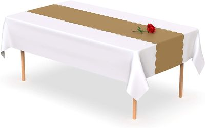 Gold Scallop Disposable Table Runner 14 x 108 inch. Adhesive Strips Included 5 Count