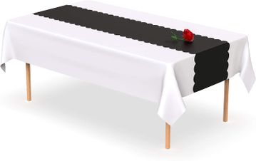 Black Scallop Disposable Table Runner 14 x 108 inch. Adhesive Strips Included 5 Count