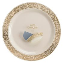 Lace Collection Ivory/Gold 10.25″ Dinner Plastic Plates 120 Count