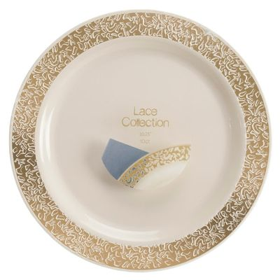 Lace Collection Ivory/Gold 6″ Desert Plastic Plates 120 Count
