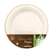Chinaware Collection Ivory/Gold 10″ Dinner Plastic Plates 120 Count