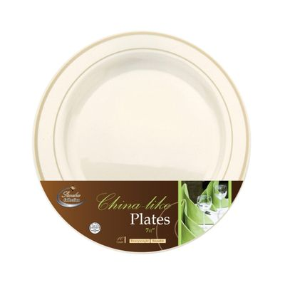 Chinaware Collection Ivory/Gold 7.5″ Salad Plastic Plates 120 Count