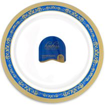 Hostess Collection Blue/Gold 10.25″ Dinner Plastic Plates 120 Count