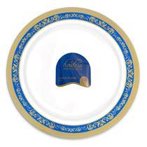 Hostess Collection Blue/Gold 9″ Lunch Plastic Plates 120 Count