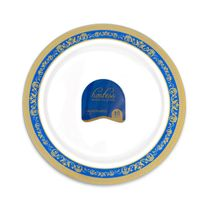 Hostess Collection Blue/Gold 7.5″ Salad Plastic Plates 120 Count