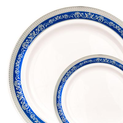 "Hostess Collection Blue/Silver 10.25"" Dinner Plastic Plates 120 Count"