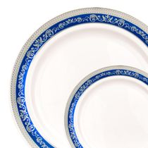 """Hostess Collection Blue/Silver 10.25"""" Dinner Plastic Plates 120 Count"""