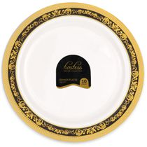 Hostess Collection Black/Gold 10.25″ Dinner Plastic Plates 120 Count