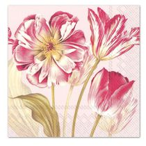 MAJESTIC TULIPS ROSE PAPER LUNCHEON NAPKINS: 20 NAPKINS PER PACK