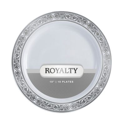 Royalty Collection White/Silver 10″ Plastic Wedding Dinner Plates 120ct.