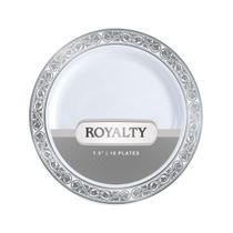 Royalty Collection White/Silver 7.5″ Salad Plastic Plates 120 Count