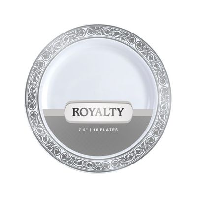Royalty Collection White/Silver 12oz Plastic Bowls 120 Count