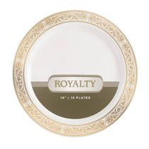 Royalty Collection Ivory/Gold 10″ Plastic Dinner Plates 120ct.