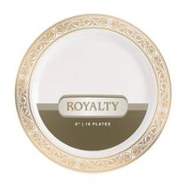 Royalty Collection Ivory/Gold 6″ Dessert / Cake Plastic Plate 120ct.