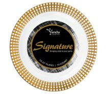 Signature Collection White/Gold 10.25″ Dinner Plastic Plates 120 Count