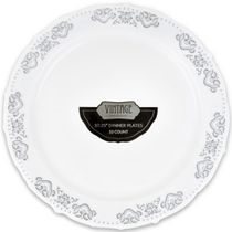 Vintage Collection Silver 10.25″ Dinner Plastic Plates 120 Count