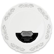 Vintage Collection Silver 9″ Lunch Plastic Plates 120 Count