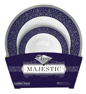 Majestic Collection Tableware Set of 32 White Bowls w/Blue and Silver Border