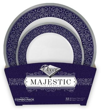 Majestic Collection Tableware Set of 32 White Party Plates w/Blue and Silver Border