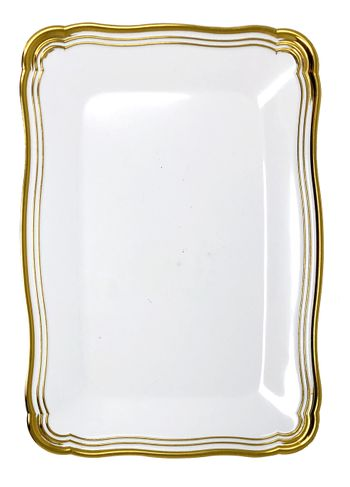 Aristocrat Collection White w/ Gold Rim Rectangular Large Trays 2ct.