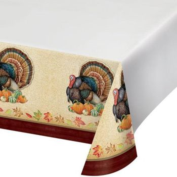 "Harvest Turkey 54"" x 102"" Plastic Tablecover"