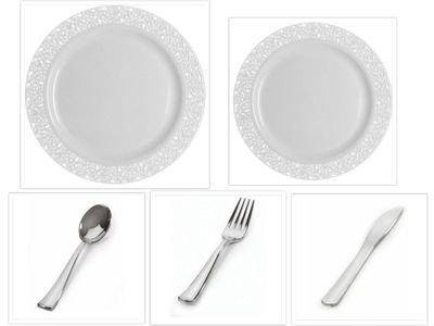 "Inspiration Collection White w/ White Lace Border 10.25"" Dinner Plates + 7.25"" Salad Plates + Cutlery *Party of 20*"