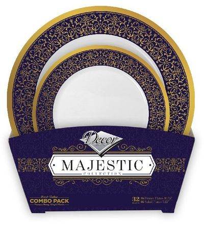 Majestic Collection Tableware Set of 32 White Party Plates w/Blue and Gold Border