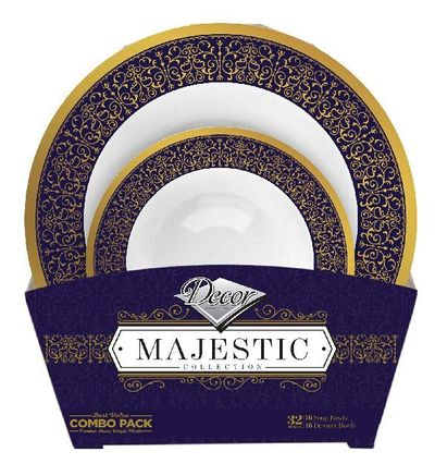 Majestic Collection Tableware Set of 32 White Bowls w/Blue and Gold Border