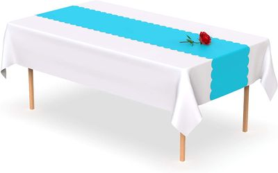 Turquoise Scallop Disposable Table Runner 14 x 108 inch. Adhesive Strips Included 5 Count