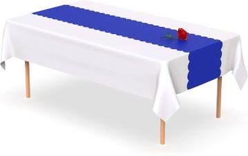 Royal Blue Scallop Disposable Table Runner 14 x 108 inch. Adhesive Strips Included 5 Count