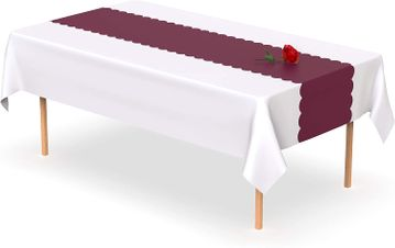 Burgundy Scallop Disposable Table Runner 14 x 108 inch. Adhesive Strips Included 5 Count