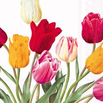 Tulips White Floral Wedding Lunch Napkins 20ct.