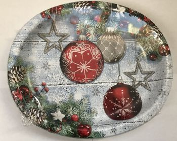 "Christmas Ornaments 12"" Christmas Oval Plates/Platters 8ct."