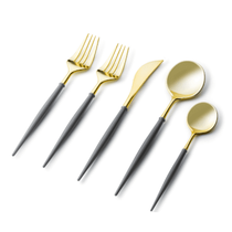 Noble Collection Two Tone Gray / Gold Plastic Wedding Cutlery 40pcs.