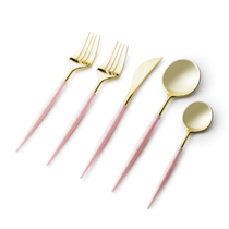 Noble Collection Two Tone Pink / Gold Plastic Wedding Cutlery 40pcs.