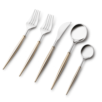 Noble Collection Two Tone Silver / Gold Handle Plastic Wedding Cutlery 40pcs.