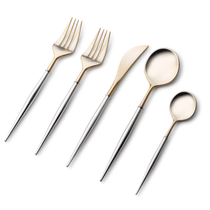 Noble Collection Two Tone Silver Handle / Gold Plastic Wedding Cutlery 40pcs.