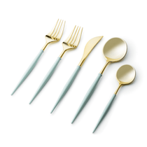 Noble Collection Two Tone Turquoise / Gold Plastic Wedding Cutlery 40pcs.
