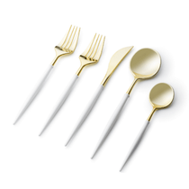 Noble Collection Two Tone White / Gold Plastic Wedding Cutlery 40pcs.